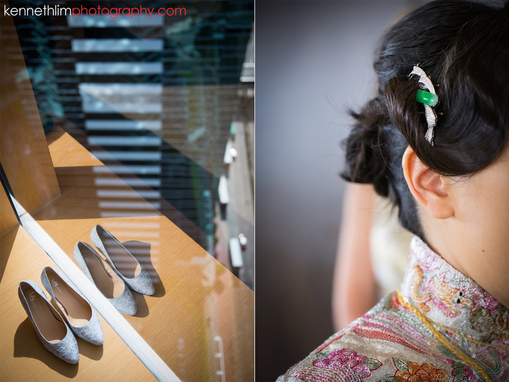 Hong Kong Upper House Admiralty wedding day photography big day wedding morning bride shoes and hair pin