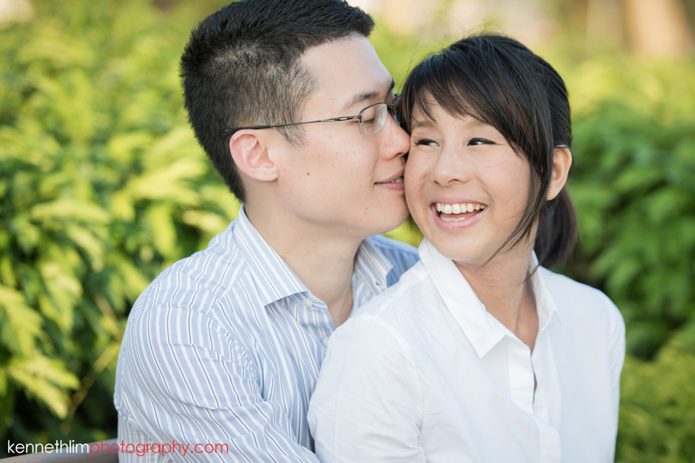 Hong Kong Pre wedding photography Peng Chau Island outdoor portrait session couple kissing smiling having a good time