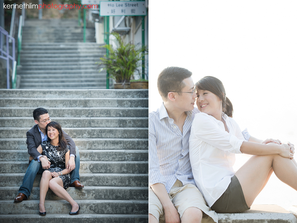 Hong Kong Pre wedding photography Peng Chau Island outdoor portrait session couple sitting on stairs together