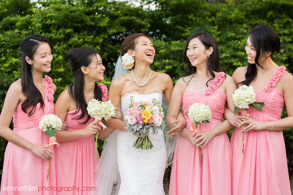 Hong Kong Wedding photography one thirty one bride bridesmaids portrait session laughing together