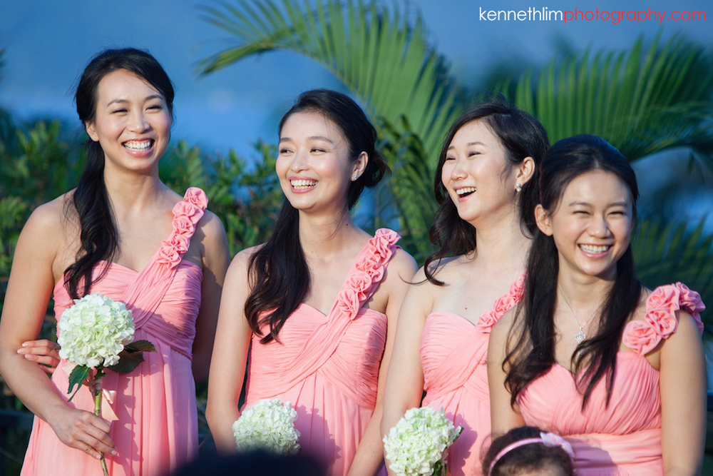 Hong Kong Wedding photography one thirty one bridesmaids laughing together during ceremony