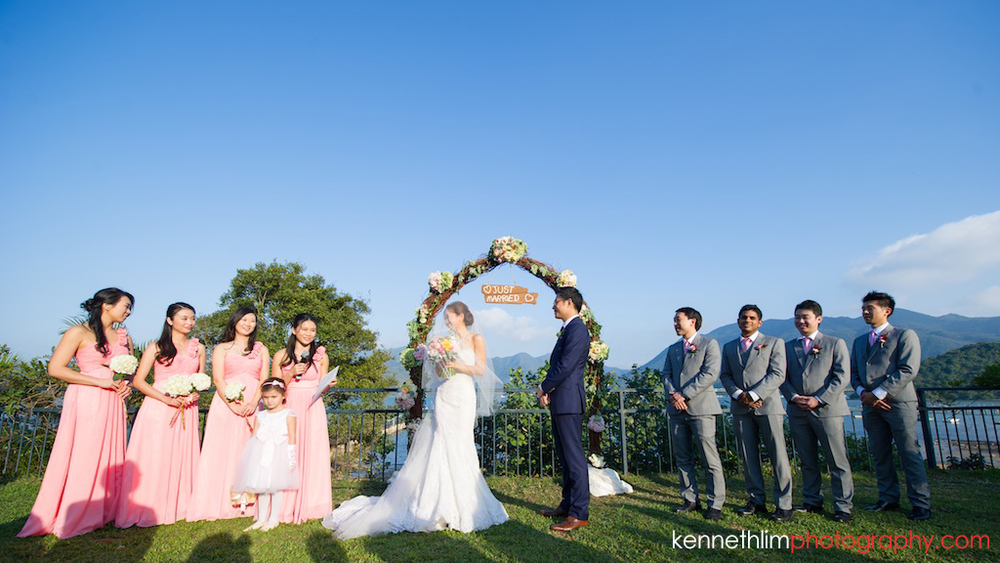 Hong Kong Wedding photography one thirty one vow exchange bride groom bridal party together