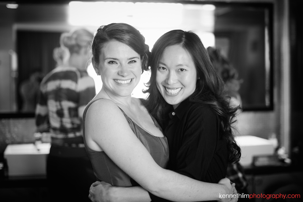 Atlanta wedding W Atlanta Hotel big day photography bride and bridesmaid hugging