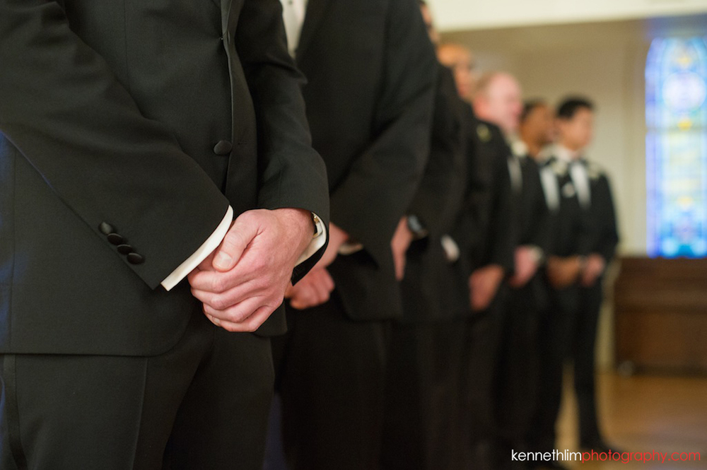 Atlanta wedding Kairos Church big day photography groom and groomsmen waiting for bride march in