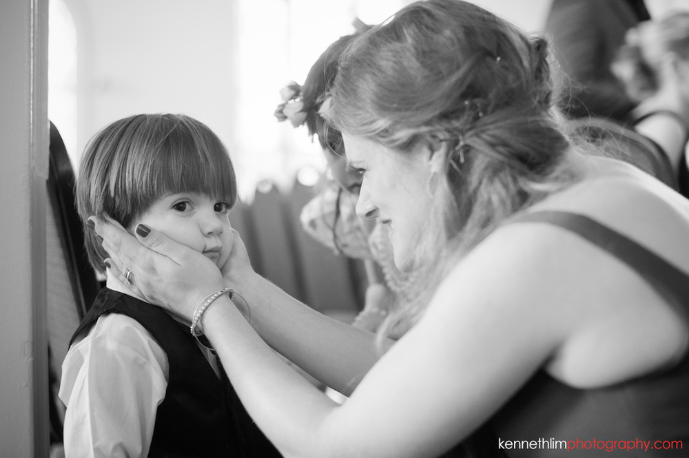 Atlanta wedding Kairos Church big day photography flower boy getting attention