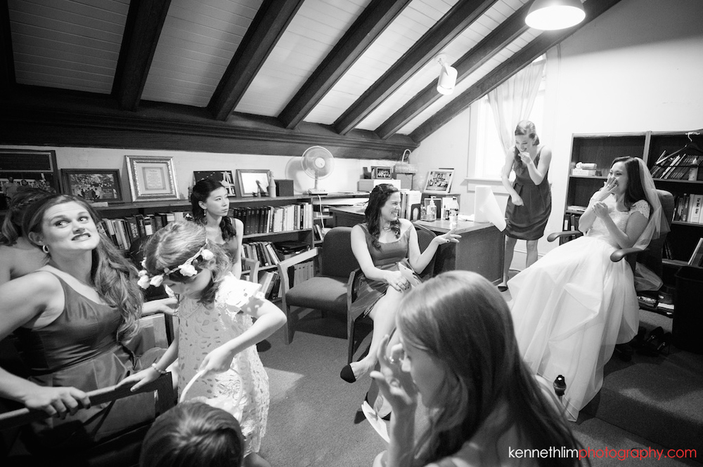 Atlanta wedding Kairos Church big day photography bride and bridesmaids laughing together during morning prep