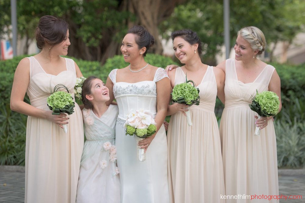Hong Kong Island Shangri-la Atrium Library wedding day photography bride and bridesmaids portrait session