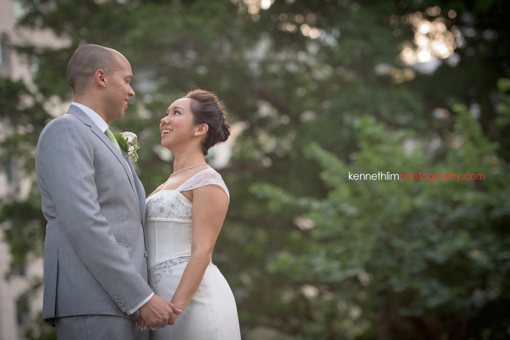 Hong Kong Island Shangri-la Atrium Library wedding day photography bride and groom portrait session outdoor holding hands