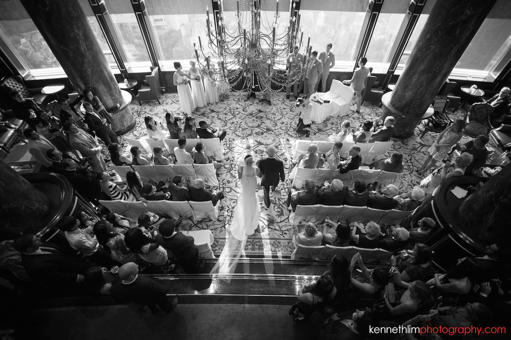 Hong Kong Island Shangri-la Atrium Library wedding day photography bride groom marching in overhead view