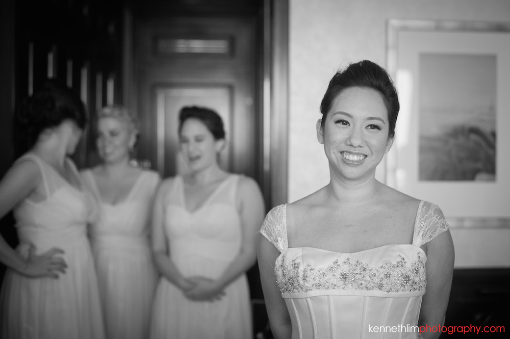 Hong Kong Island Shangri-la Atrium Library wedding day photography bride smiling happily