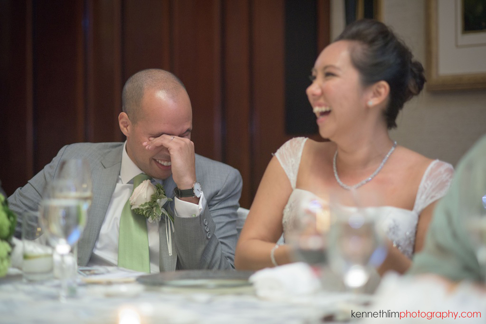 Hong Kong Island Shangri-la Atrium Library wedding day photography dinner banquet bride groom laughing at speech