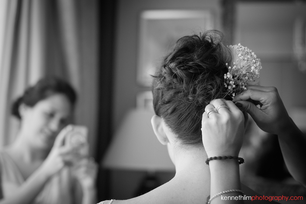 Hong Kong Island Shangri-la Atrium Library wedding day photography early morning prep bride getting hair done