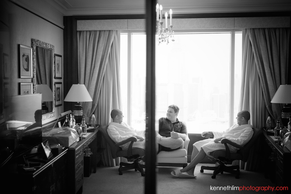 Hong Kong Island Shangri-la Atrium Library wedding day photography groom and groomsmen relaxing before day begins