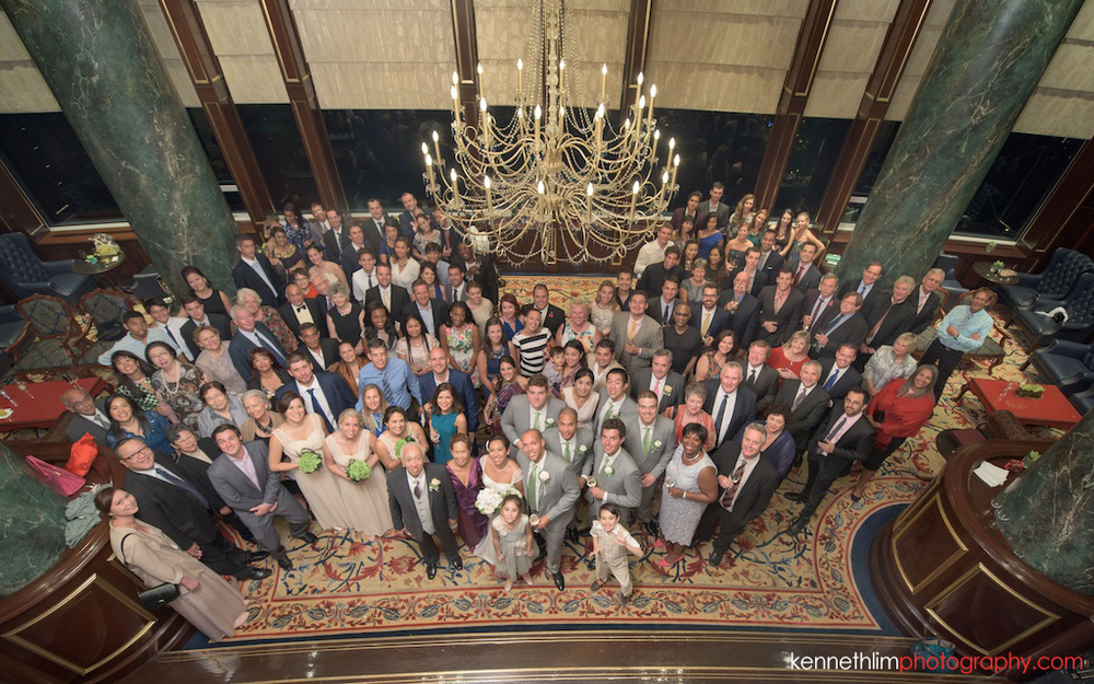 Hong Kong Island Shangri-la Atrium Library wedding day photography guest group shot overhead