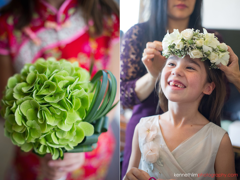 Hong Kong Island Shangri-la Atrium Library wedding day photography morning prep bride flowers and flower girl smiling