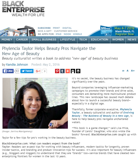 Phylencia Taylor Featured In Black Enterprise — Walker +