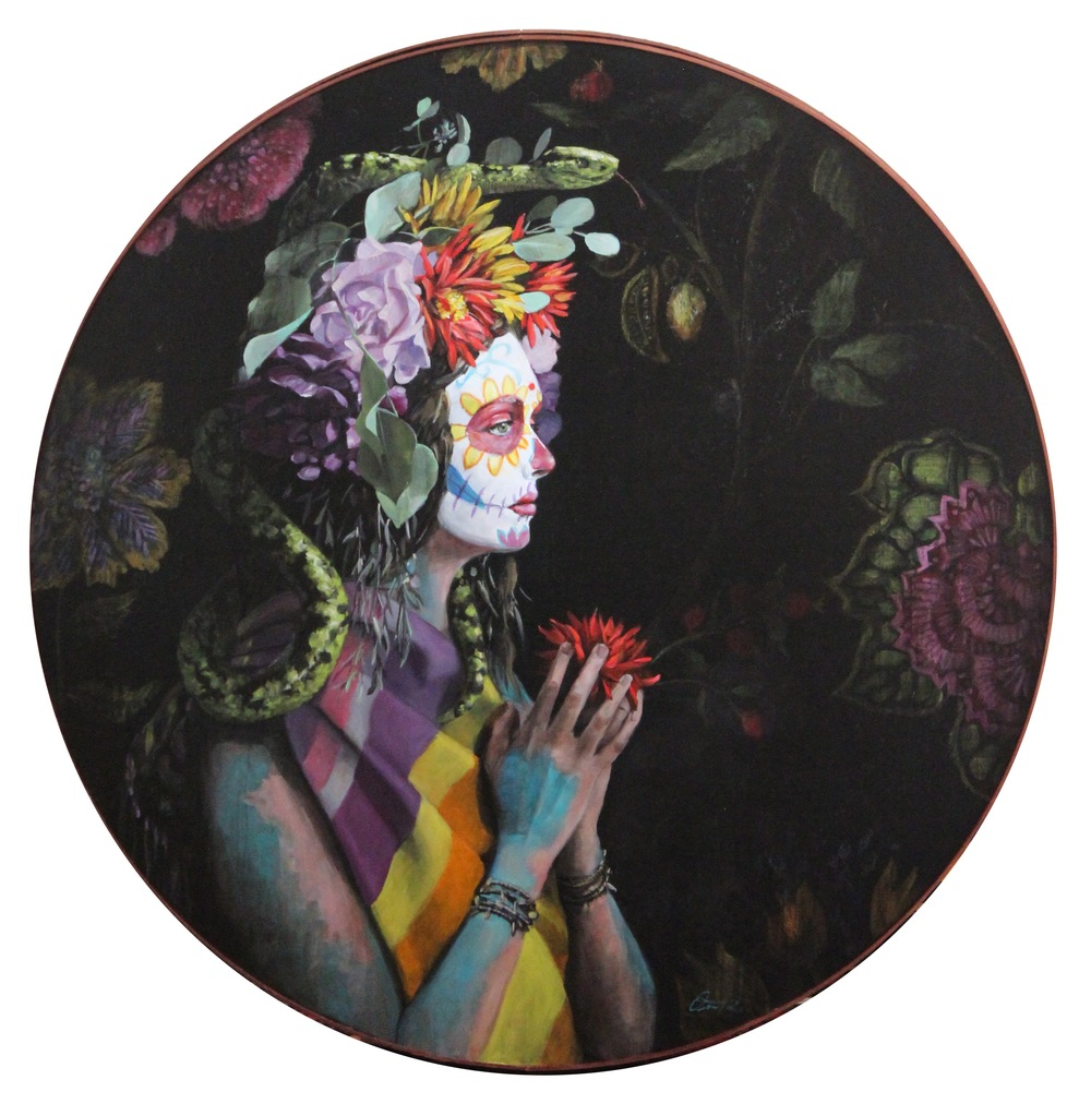 "Lillith in Eden, oil on panel, 46"" diameter"
