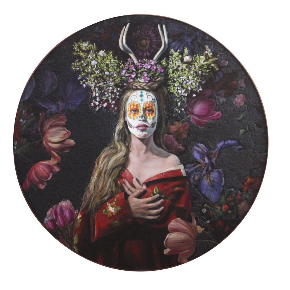 "Sacred Heart, oil on panel, 46"" diameter"