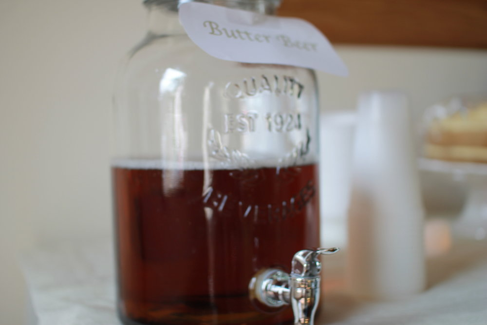 We made our own version of the famous Butterbeer! Just mix cream soda, a hint of butter scotch flavouring, & ice cream!