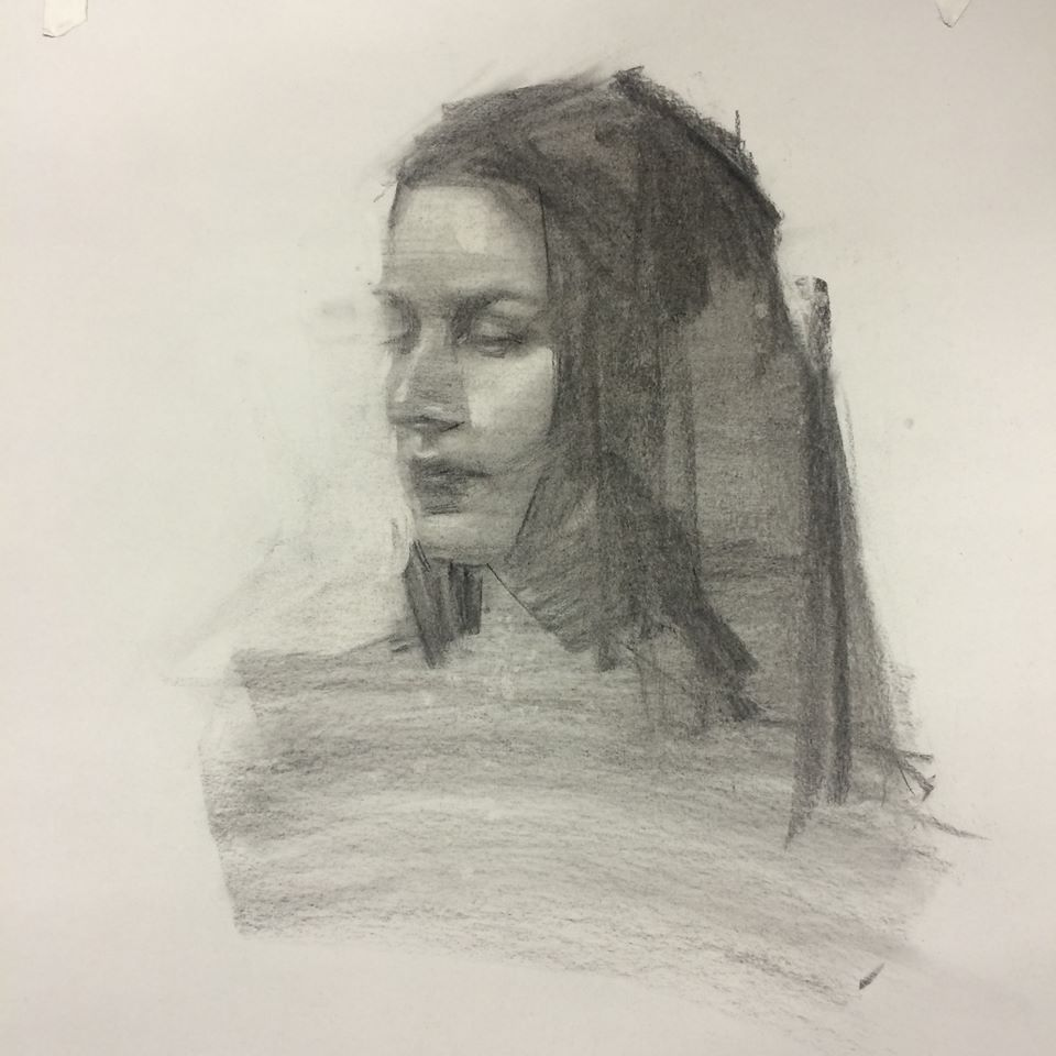 Here is an example of one of my recent posts to Instagram. It was a portrait done from life during last week's class.