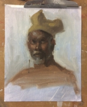 Here is a 1.5 hour in-class portrait done in oils.