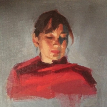 "Ruth, 7.5""x7.5"", oil on mounted canvas"