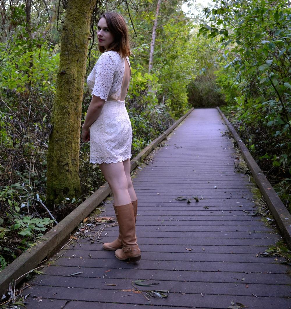 cream-lace-dress-tan-boots-walking-path
