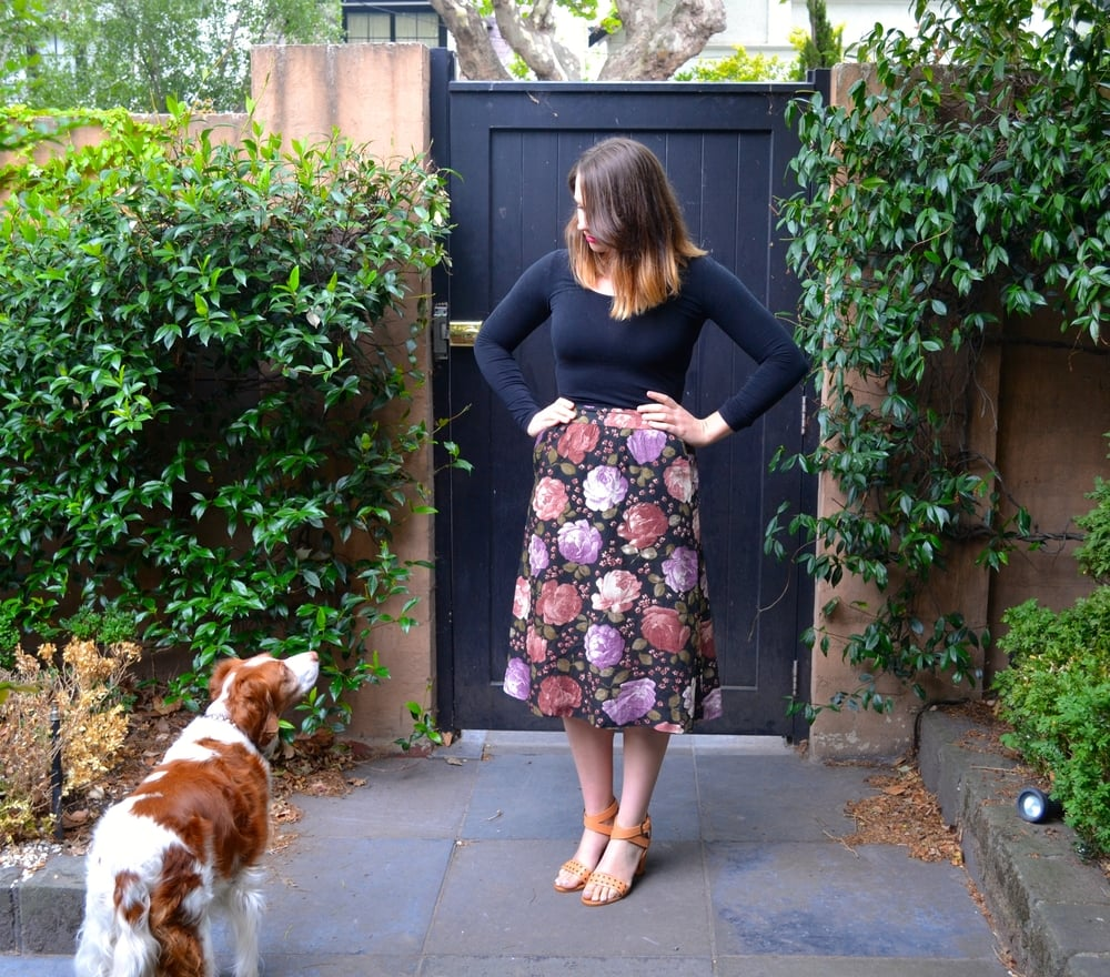 floral-skirt-rmk-heels-dog