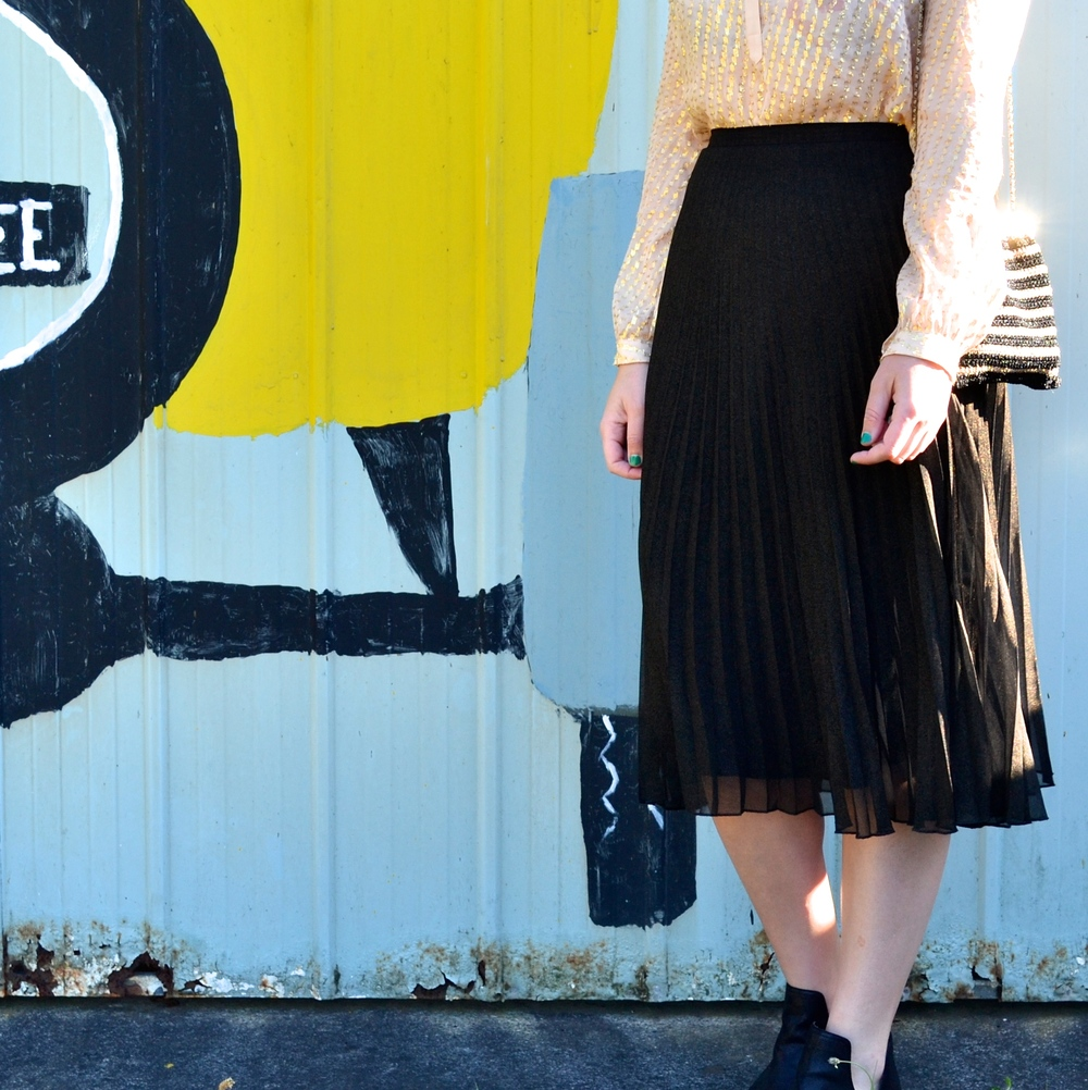 zara-gold-blouse-sportsgirl-pleated-black-midi-skirt