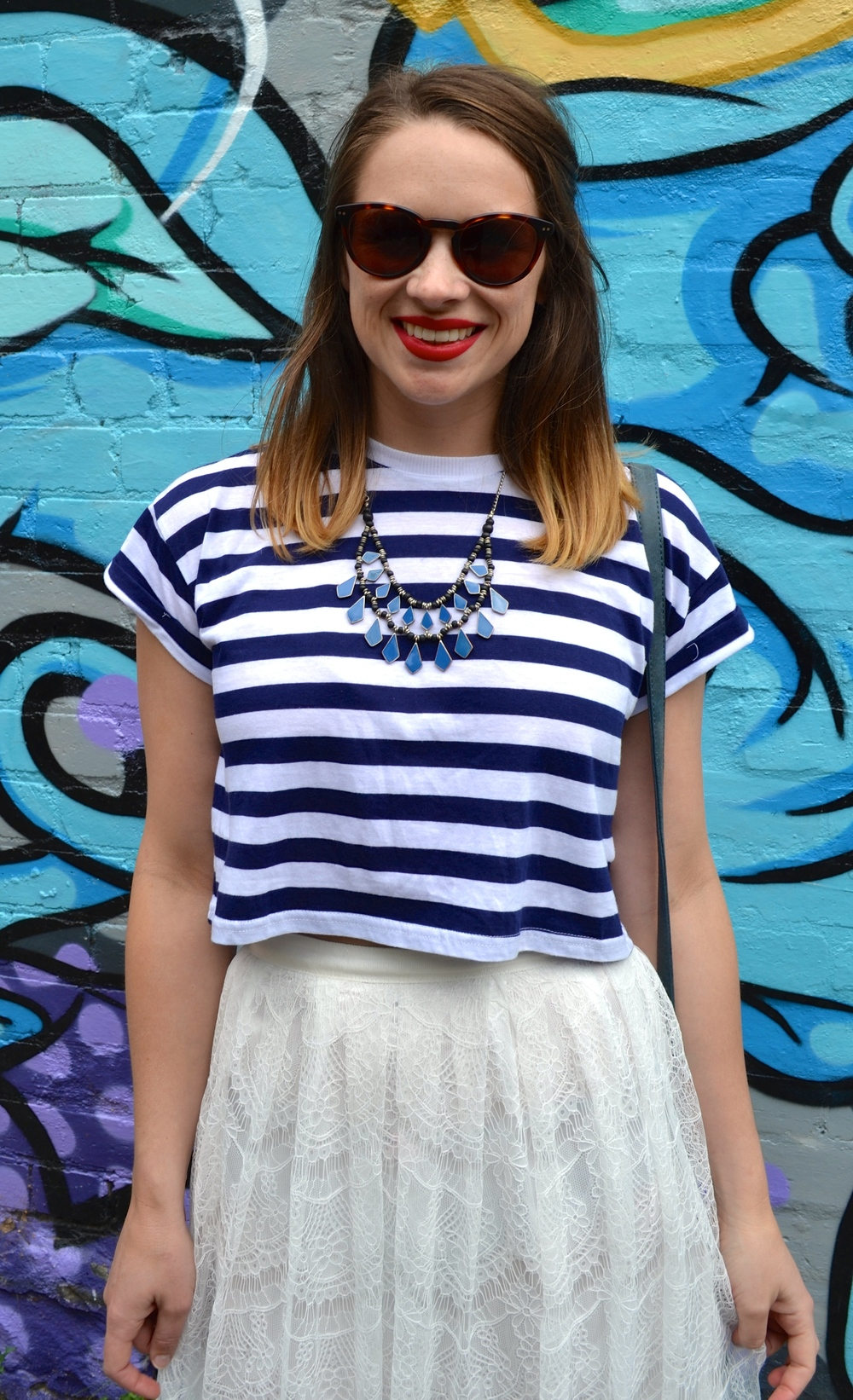 blue-striped-cropped-top-lace-skirt-red-lips