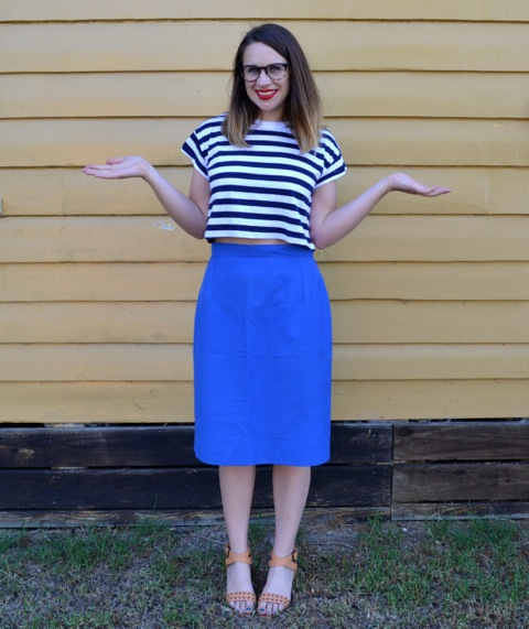 electric-blue-midi-skirt-striped-top