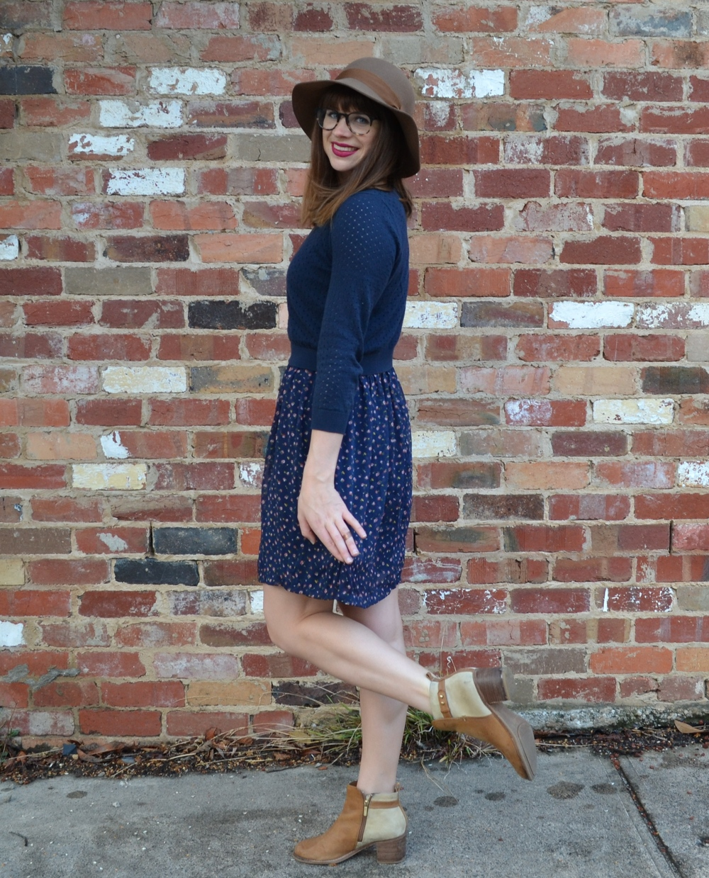 tan-ankle-boots-nordstrom-blue-floral-dress