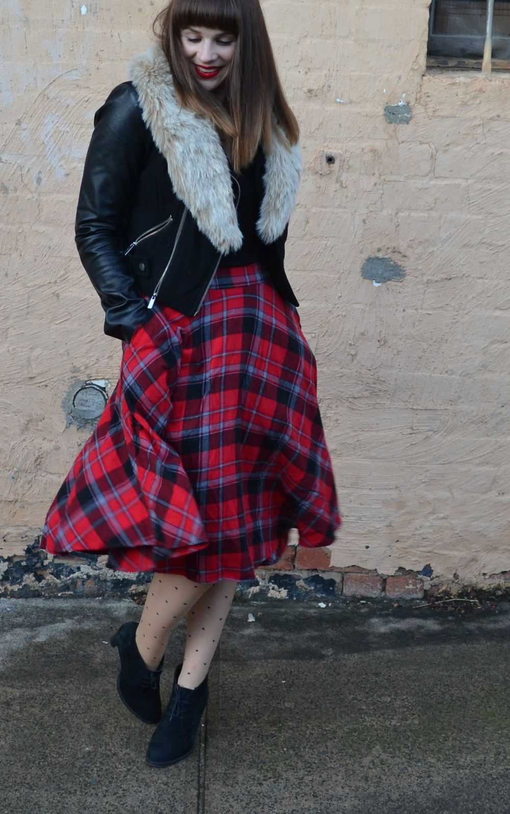 polka-dot-tights-tartan-midi-skirt