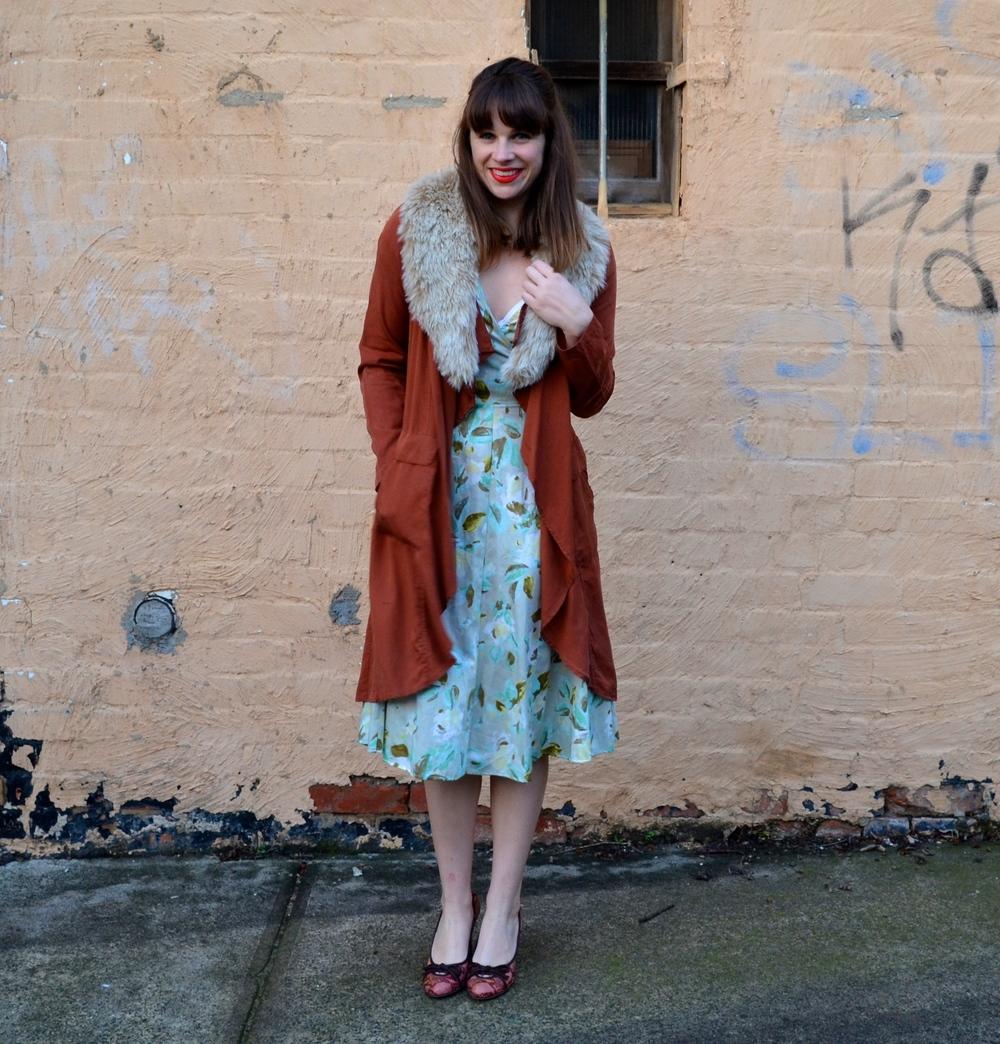 rust-duster-coat-floral-dress-fur-scarf