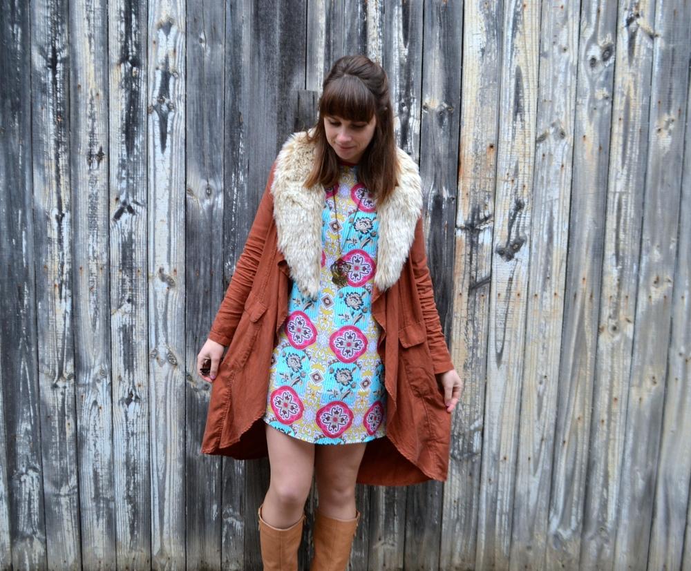 colorful-mini-dress-rust-duster-coat