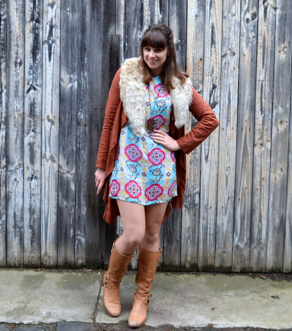 colorful-mini-dress-tan-knee-high-boots
