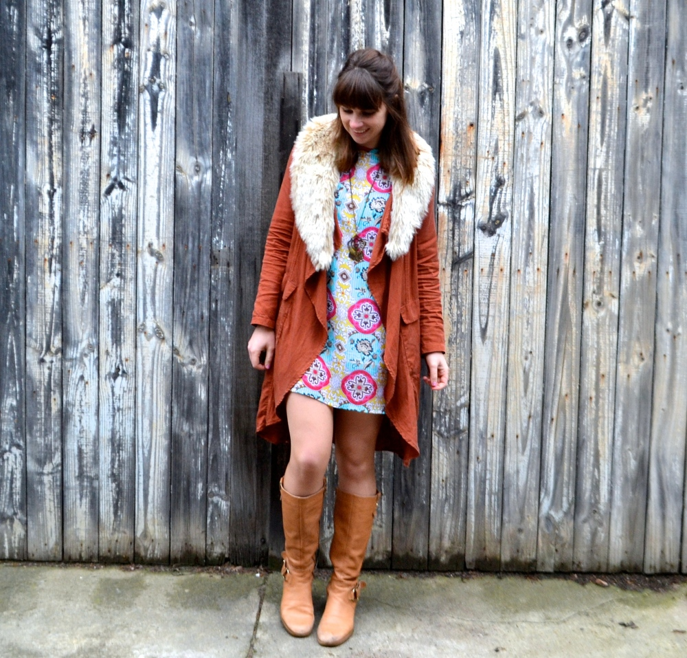 tan-knee-high-boots-colorful-dress