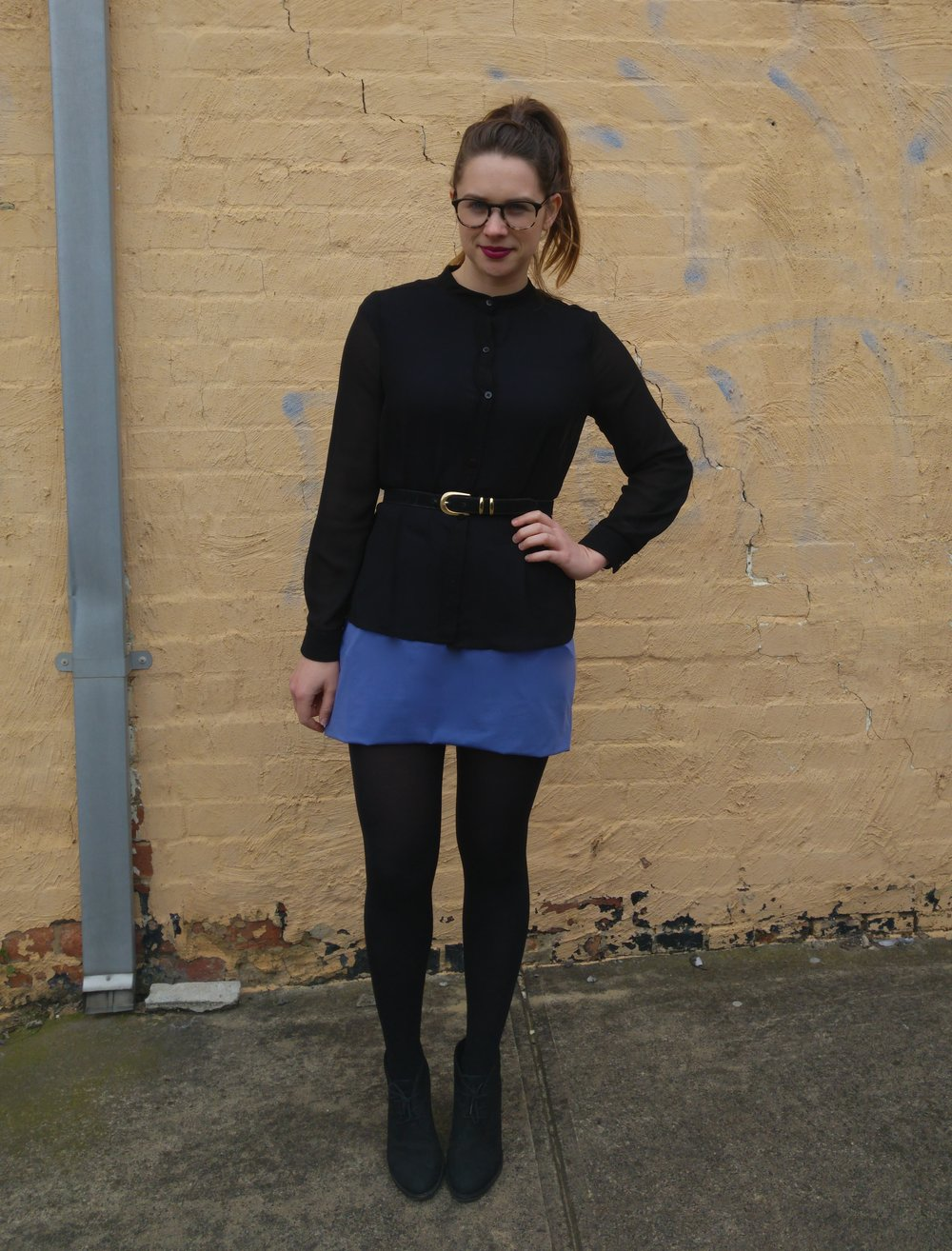 black-blouse-blue-skirt
