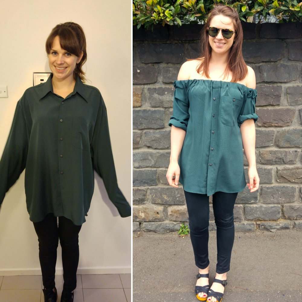 DIY - Off the Shoulder top from oversized men s shirt — Blue ... ad026f154