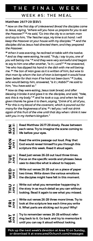 The Meal - This week we are meditating on the story of Jesus' last meal with his disciples before the crucifixion. What do you think the disciples were thinking or feeling during this moment? What would you do if you were present in this moment?