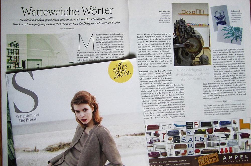 Die Presse_Carissimo Letterpress Wien_Prägedruck