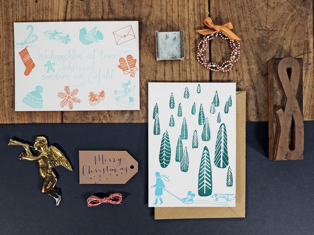 Letterpress Weihnachtskarten & Geschenksanhänger