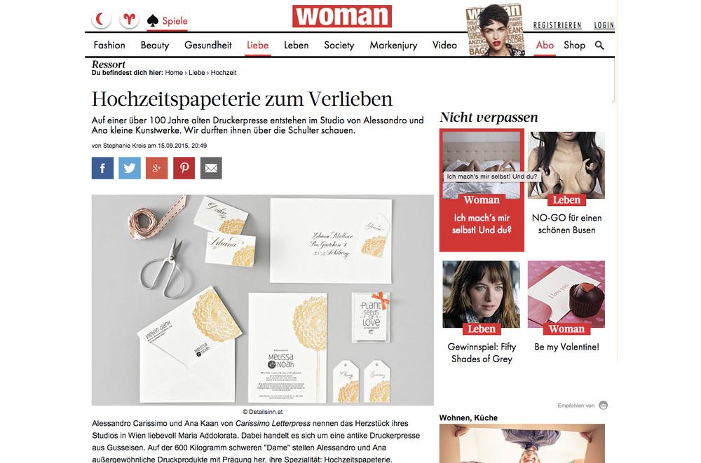 Woman Online Artikel über Carissimo Letterpress