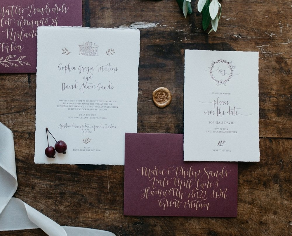 Letterpress Semi custom wedding invitations