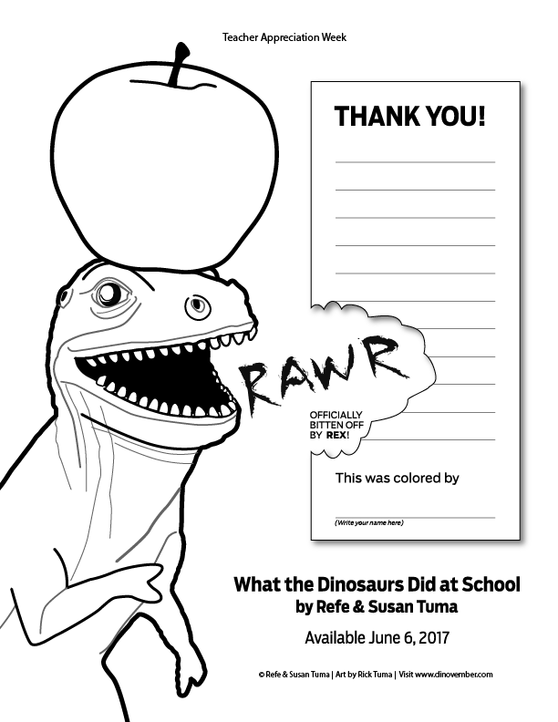 Show your teacher some love. - Teachers work hard. Really hard. None of us would be where we are without them. Teacher Appreciation Week is a time to say thank you, and we wanted to make it as easy as possible to do just that.Print out this coloring sheet featuring Rex and a shiny red apple (or blue, or yellow, or purple—it's a coloring page, after all!) and point your kid to the crayons. When they're finished, they can hand it in to their favorite teachers as a way of saying thank you.