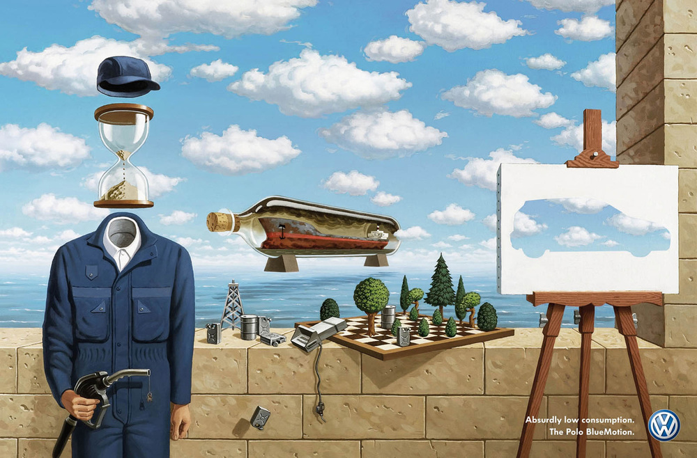 Volkswagen ad playing on Dali and Magritte,  by DDB Berlin and Kirill Chudinskiy