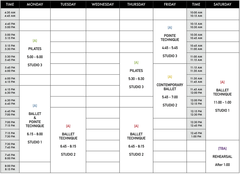 Class Schedule as of August 18th, 2015.   All classes are subject to change at any time.   The Pilates Program fee is at a separate cost and is not included in the regular Academic Year tuition.