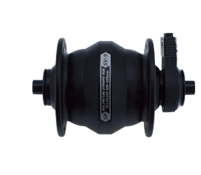 Shutter Precision's 9 Series Dynamo hub in black. Available in V brake and centre lock.