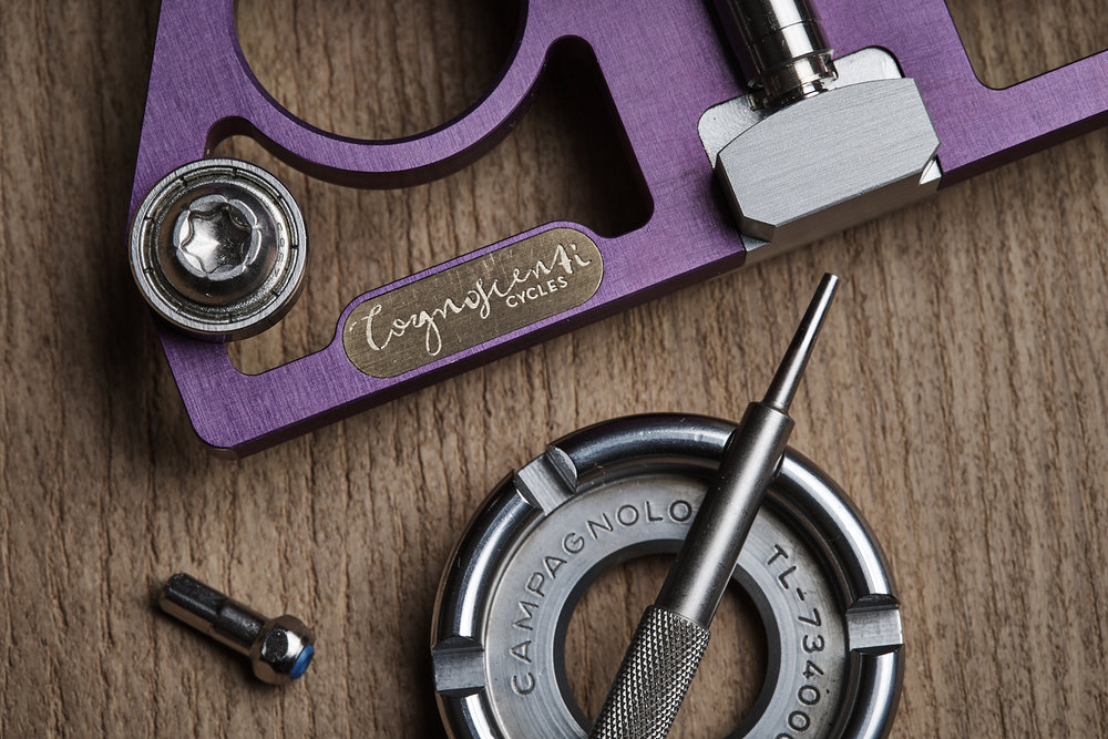 All current Cognoscenti Cycles spoke tension meters will proudly bare the name of our company with an engraved brass plaque.