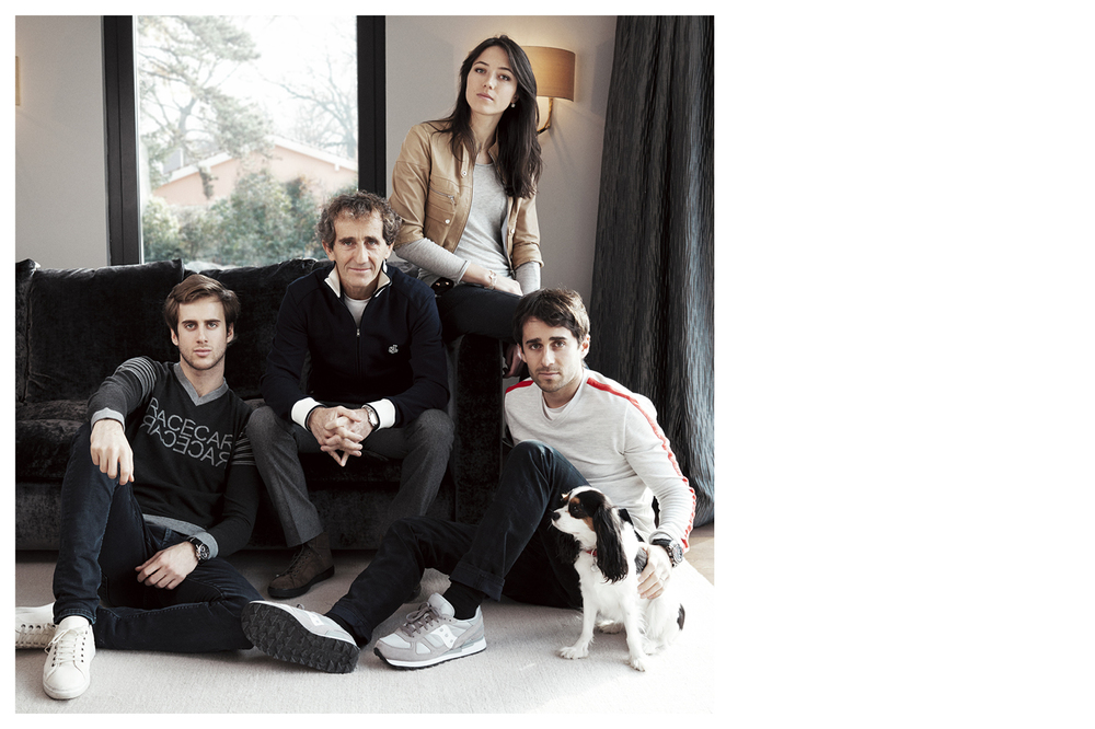 Prost family, from left to right : Sacha Prost, Alain Prost, Delphine Prost, Nicolas Prost